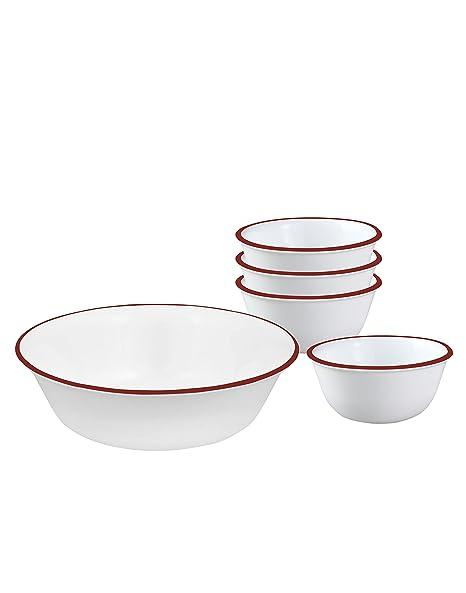 Corelle Crimson Trellis Glass Pudding Set, 5-Pieces, White/Red