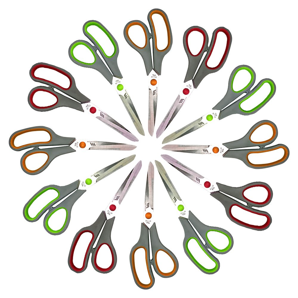 Multi-Purpose 8 inch Comfort Grip Scissors Heavy Duty Commercial Grade Stainless Steel Blades for Home and Office in Three Colors with Soft Grip (12 Pack)