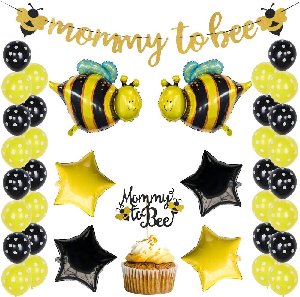 Bumblebee Party Decoration Bumble Bee Balloons for Honey Bee Themed Birthday Party Bumble Bee Baby Shower Decoration Mommy to Bee Gold Glitter Banner and Cake Topper for Baby Shower Supplies