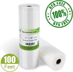 Vacuum Sealer Bags Heavy Duty, 11x 50 Vacuum Sealer Bags (2 packs) 100 ft Roll Vacuum Sealer Bags, Food Vacuum Sealer Bags, Meat Vacuum Sealer Bags, Fit nutrichef, foodsaver, jzbrain oliso weston Vacuum Sealer Bags, BPA Free Sous Vide, Best Deal!