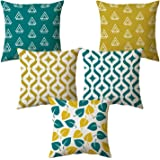 "AEROHAVEN Set of 5 Multi Colored Decorative Hand Made Jute Cushion Covers 16"" x 16"" (40cm x 40cm)"
