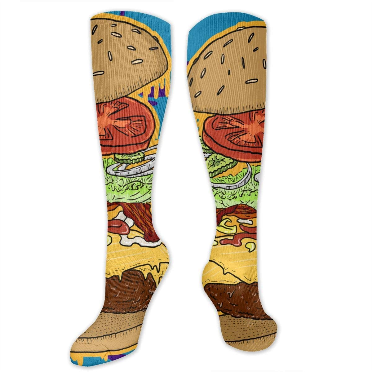 Men Multicolored Pattern Fashionable Fun Crew Cotton Socks Chanwazibibiliu Delicious Burger Mens Colorful Dress Socks Funky