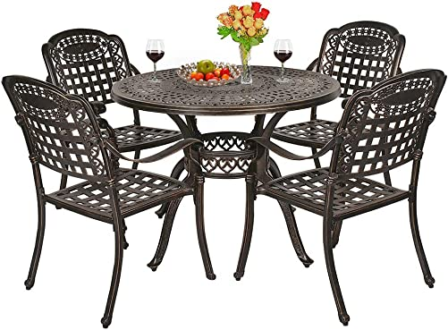 OKIDA 5 Piece Outdoor Cast Aluminum Patio Dining Set