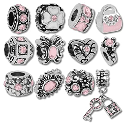 983bf7552 Pink October Birthstone Beads and Charms for Pandora Charm Bracelets:  Amazon.co.uk: Kitchen & Home