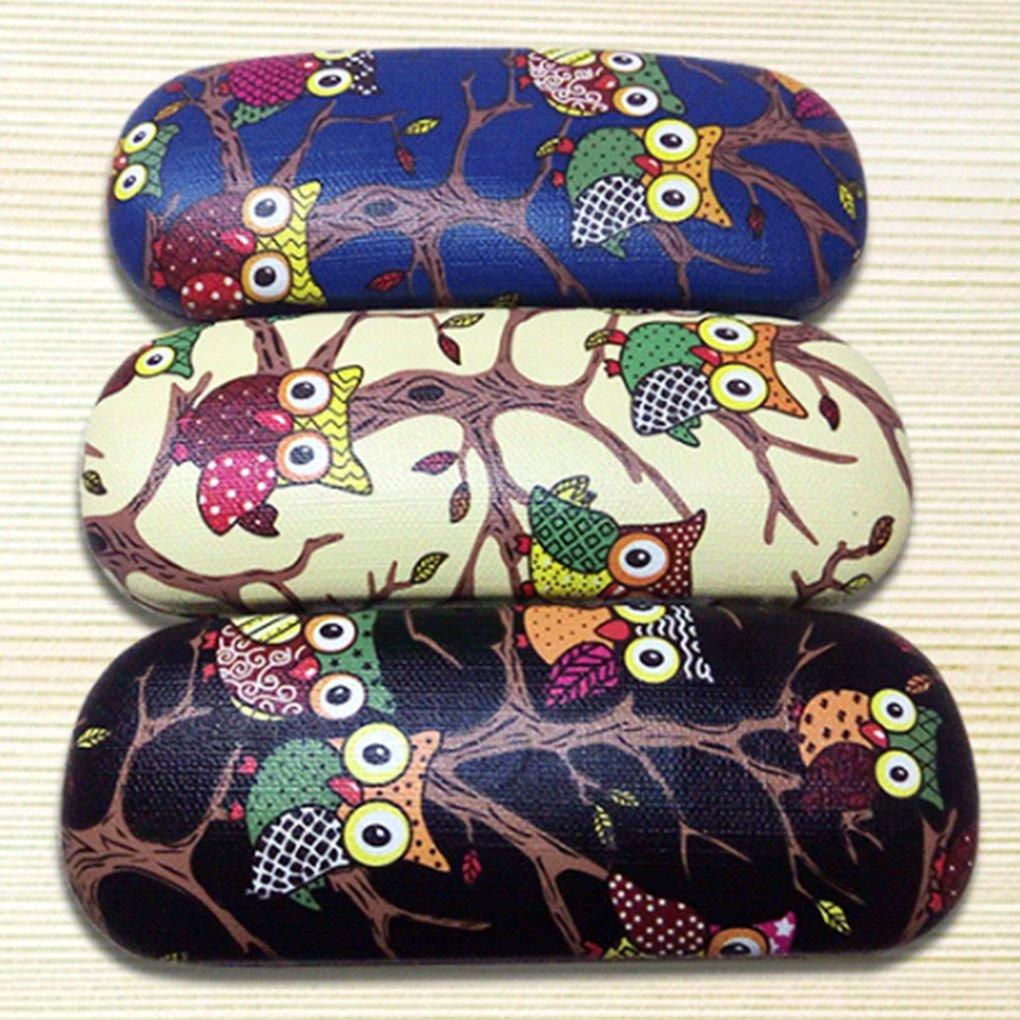 Gankmachine Motivo Owl Animali in Pelle Occhiali Cassa dellunit/à di Elaborazione di Sicurezza Eyewear Box Folding Rigido Portatile Astuccio per Occhiali Protector Box Blu