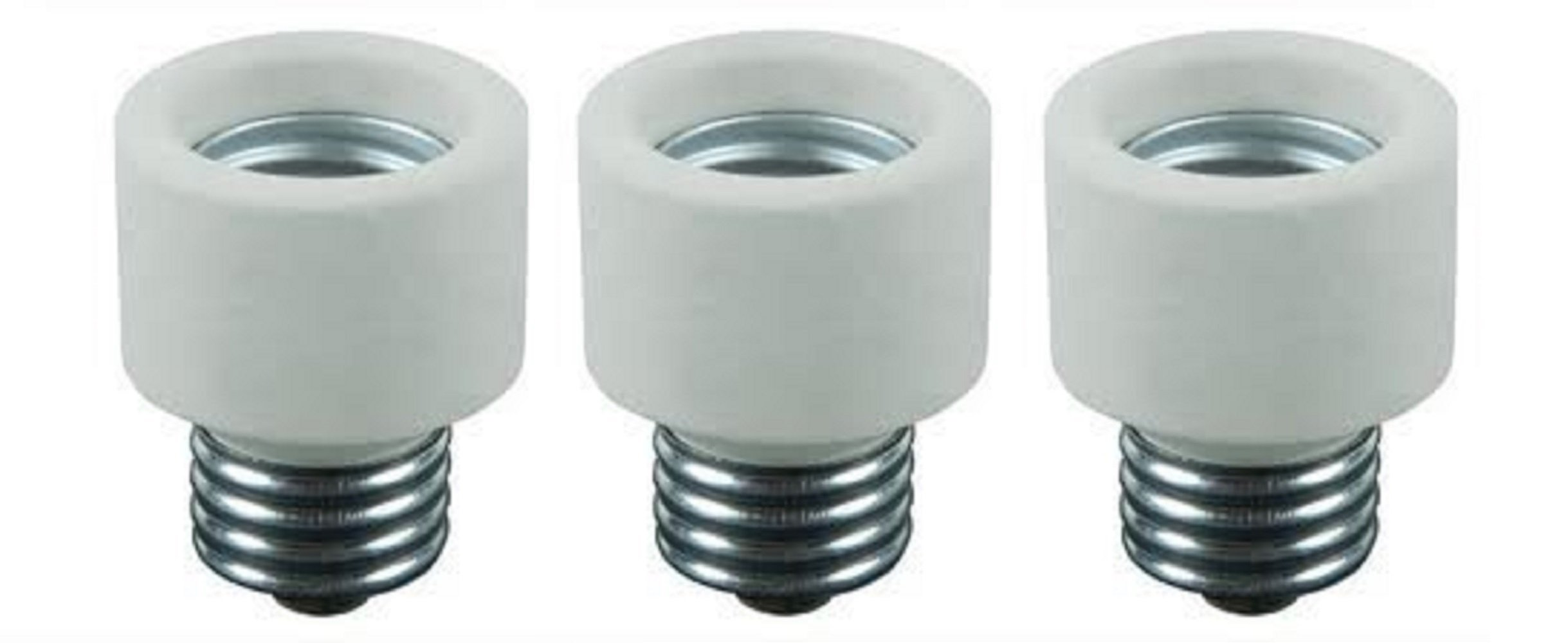 Pack Of 3 Medium Base To Medium Base Light Bulb Socket Porcelain Extender / E26 1 Inch Extension Adapter