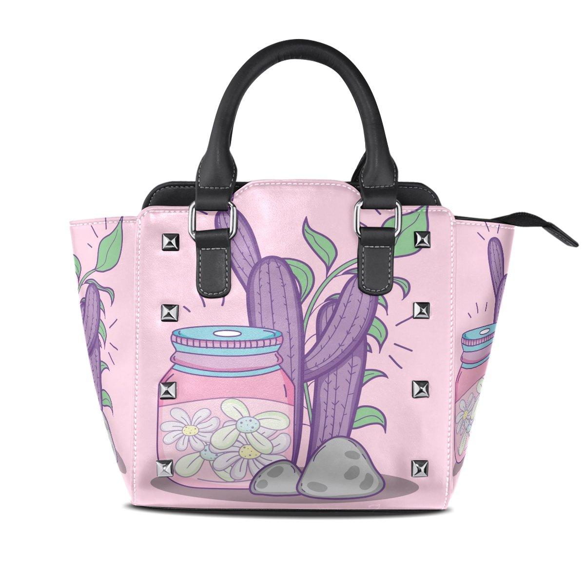 Ladies Genuine Leather Tote Bags Purple Cactus Womens Hangbags Shoulder Bags