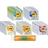 Lipton Herbal Supplements Tea Bag Variety 30 Count, 5 Different Flavors with By The Cup Honey Sticks