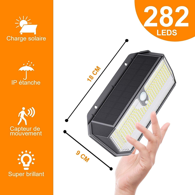 Luz Solar Exterior 2 Paquete HOTIME 282 LED Luces Solares con Sensor de Movimiento Impermeable Inal/ámbricas L/ámpara Solar Jard/ín Para 3 Modos 270/° Iluminaci/ón 2600 Lumens Foco Solar Exterior