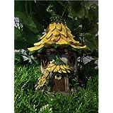 Hi-Line Gift Ltd Fairy Garden House with Sunflower Roof-Solar LED Lights