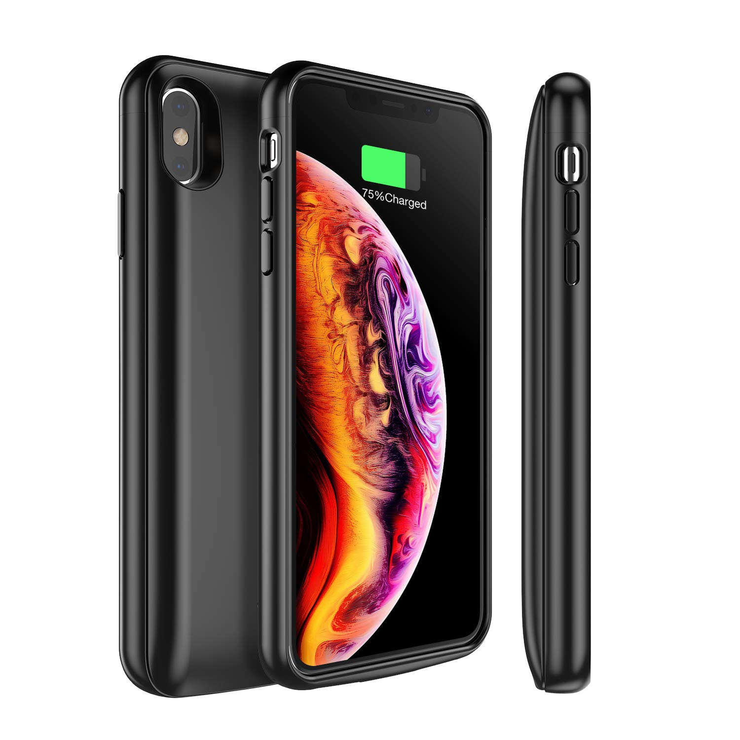 Snowpink iPhone Xs MAX Battery Case Qi Wireless Charging, 5000mAh Slim Portable Charger Case Rechargeable Extended Battery Protective Charging Case Compatible iPhone Xs MAX(6.5 Inch)- Black