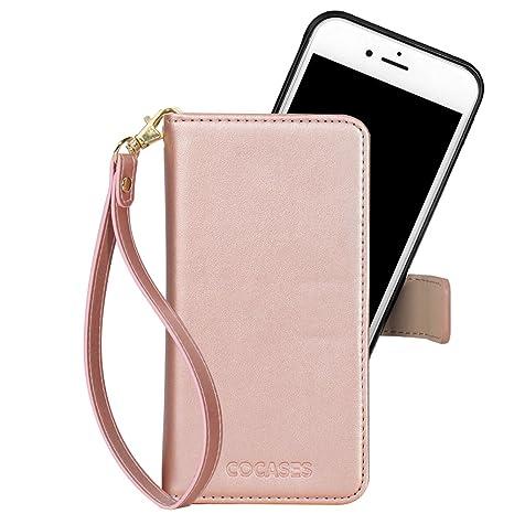 COCASES Kompatibel mit iPhone 6S Plus / 6 Plus Hülle, abnehmbare Ledertasche mit Magnetverschluss, Geldbeutel Style mit Karte
