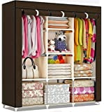 Shopper 52 Fancy & Portable Fabric Collapsible Foldable Clothes Closet Wardrobe Storage Rack Organizer Cabinet Cupboard Almirah 3 Door Wardrobe Collapsible Wardrobe (Brown) - 88130A-BR