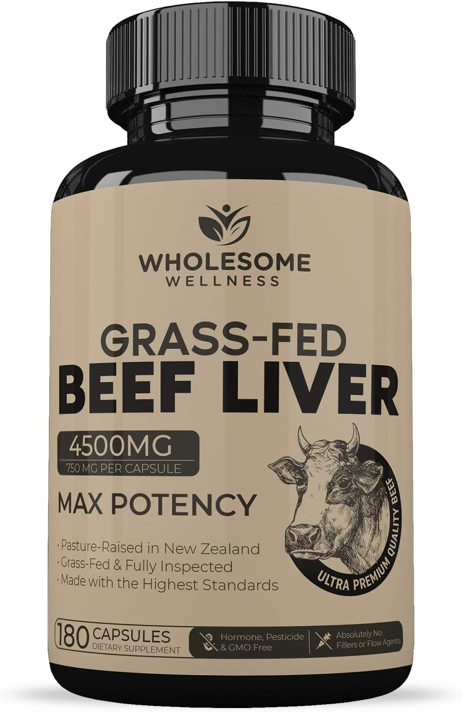 Wholesome Wellness Grass Fed Desiccated Beef Liver Capsules (750 milligrams, 180 Pills) - Natural Iron, Vitamin A, B12 for Energy - New Zealand Pasture Raised Undefatted Without Hormones or Chemicals