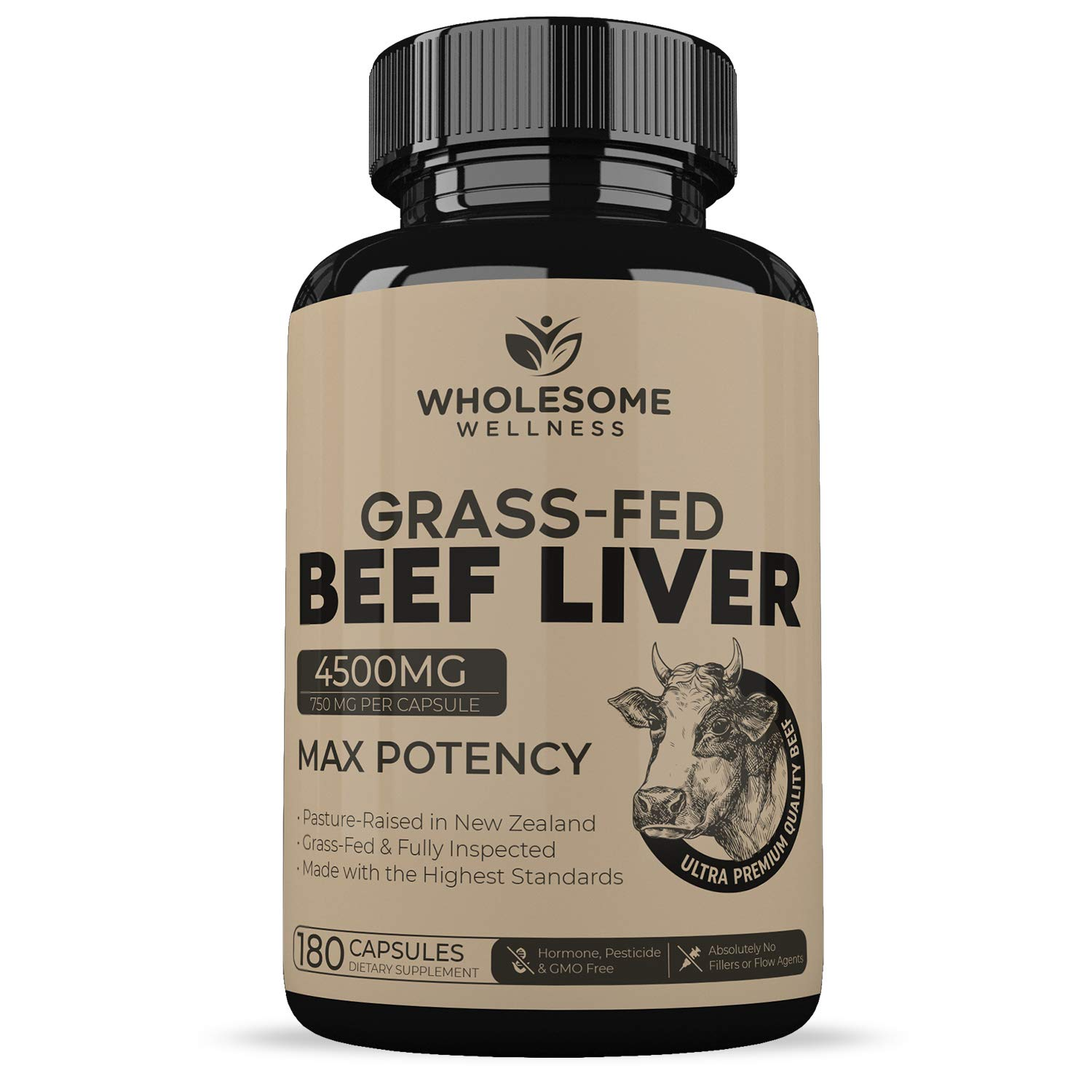 Grass-Fed Beef Liver Capsules (180 Capsules, 4500 Milligrams) - Premium Humanely Pasture Raised Without Hormones or Chemicals - Natural Iron, Vitamin A, B12 for Energy - Desiccated