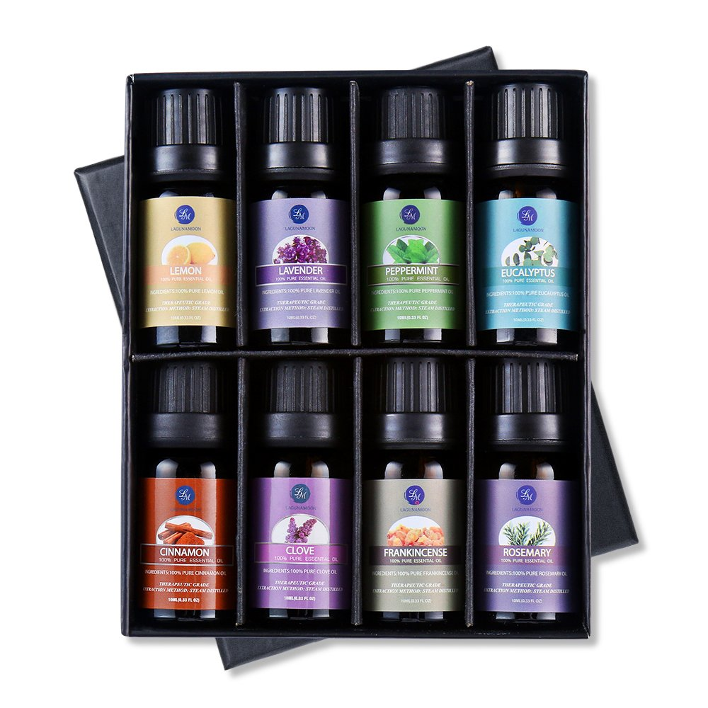 Lagunamoon Essential OilsTop 8 Gift Set Pure Essential Oils Gift Set for Diffuser, Humidifier, Massage, Aromatherapy, Skin & Hair Care