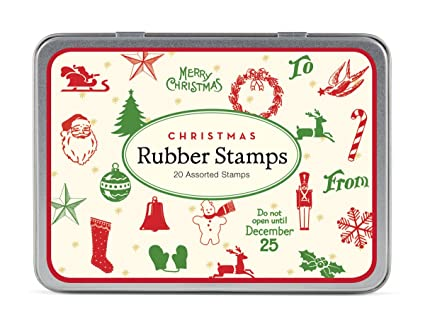 Christmas Stamps.Cavallini Papers Rubber Stamps Set Christmas Mini 20 Assorted Wooden Rubber Stamps Packaged In A Tin