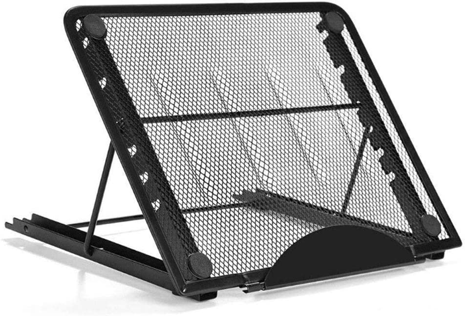 Metal Mesh Ventilated Adjustable Portable Laptop Stand for Laptop/Notebook/iPad/Tablet and More(Black)