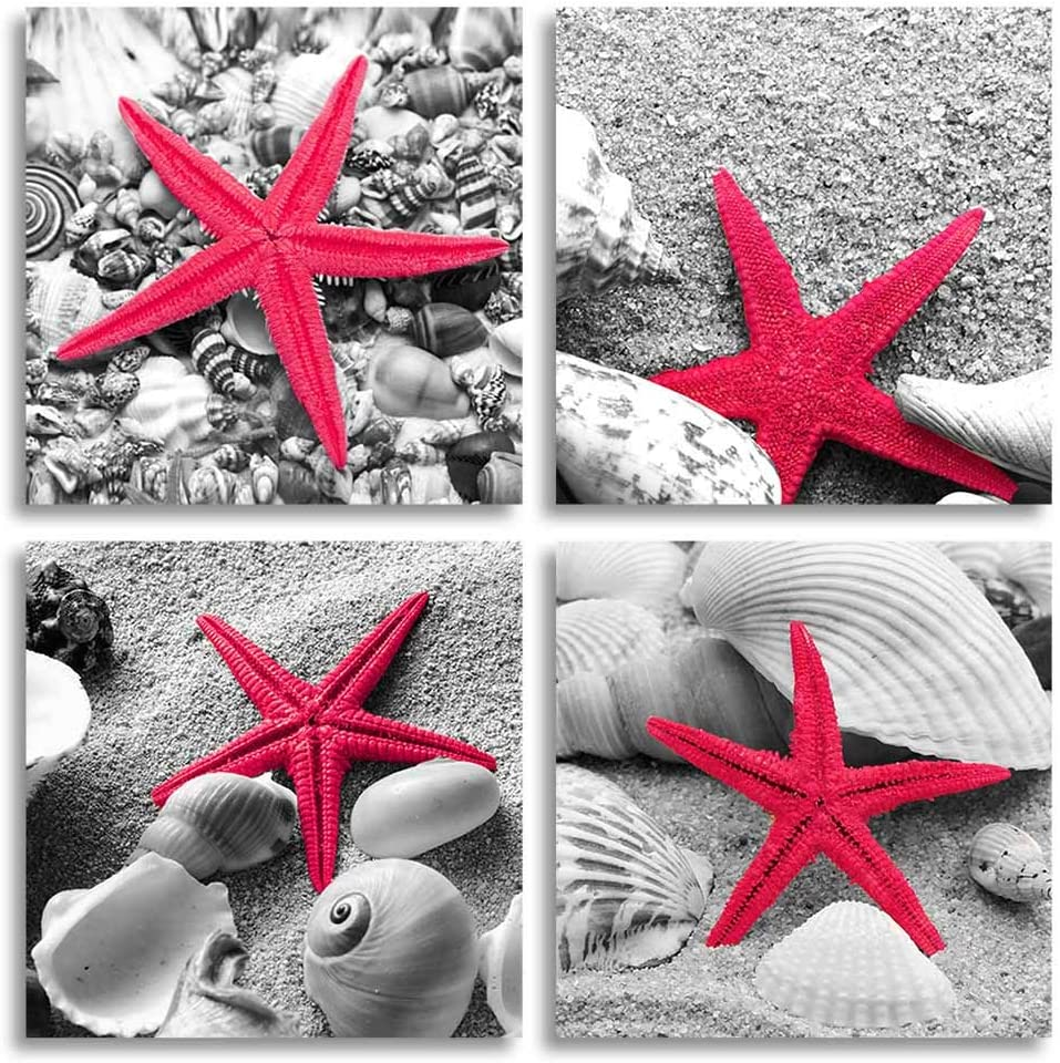 Red Starfish Wall Art Decor Contemporary Seascape Canvas Print Picture Artwork for Home and Office (RED, 12x12inchx4pcs)