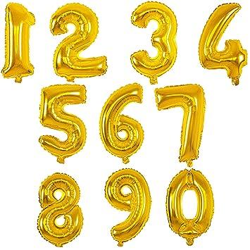 MANUKA Gran número de Globos de Helio de Hoja de Oro número 0-9 para Fiestas de cumpleaños