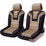 COOLBEBE Car Seat Covers - Leopard Pattern Integrated Auto Seat Cover Car Protector Interior Accessories, Airbag…