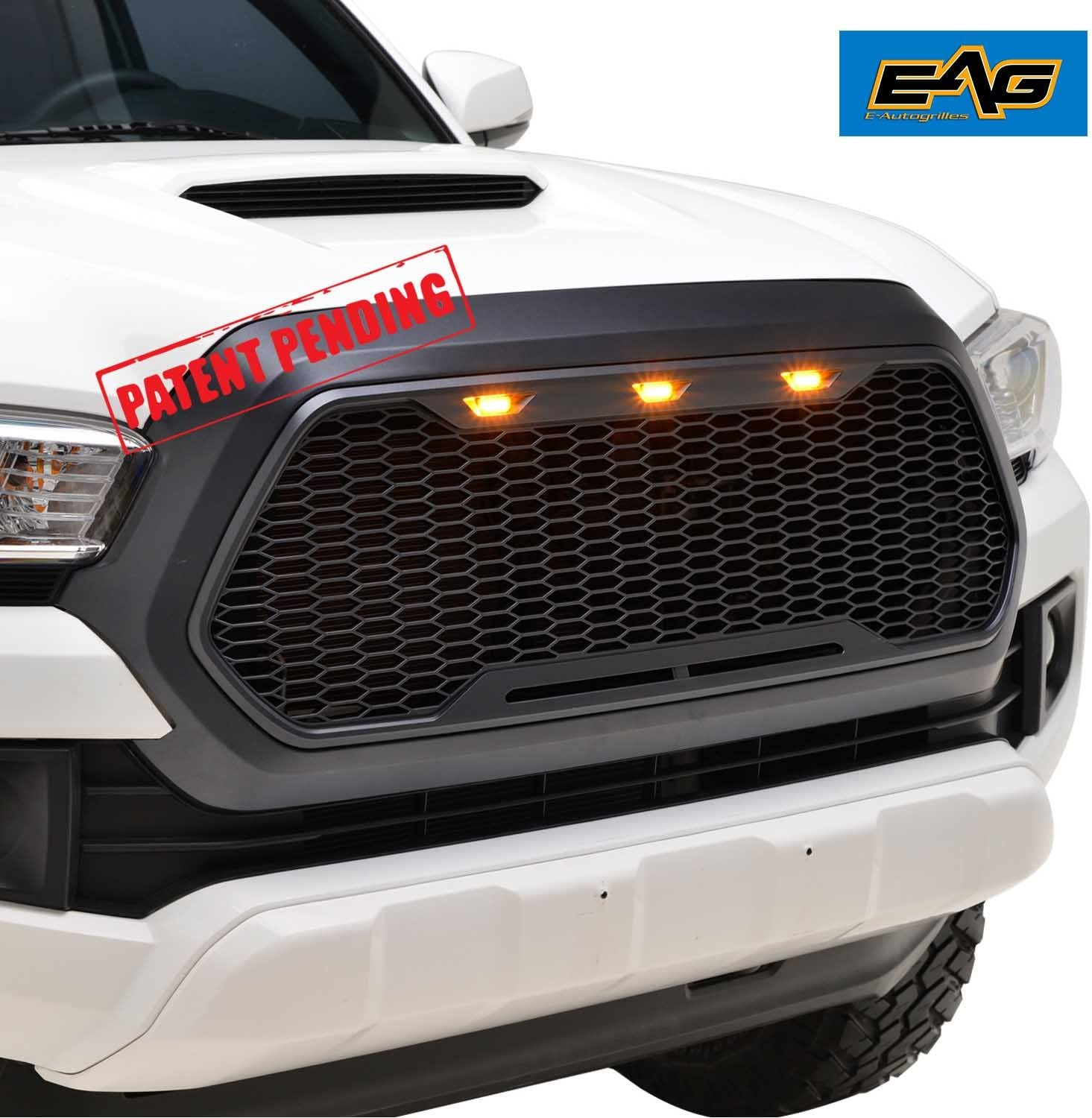 with Amber LED Lights Fit for 14-18 Toyota Tundra Matte Black EAG Replacement ABS Grille Upper Front Hood Grill