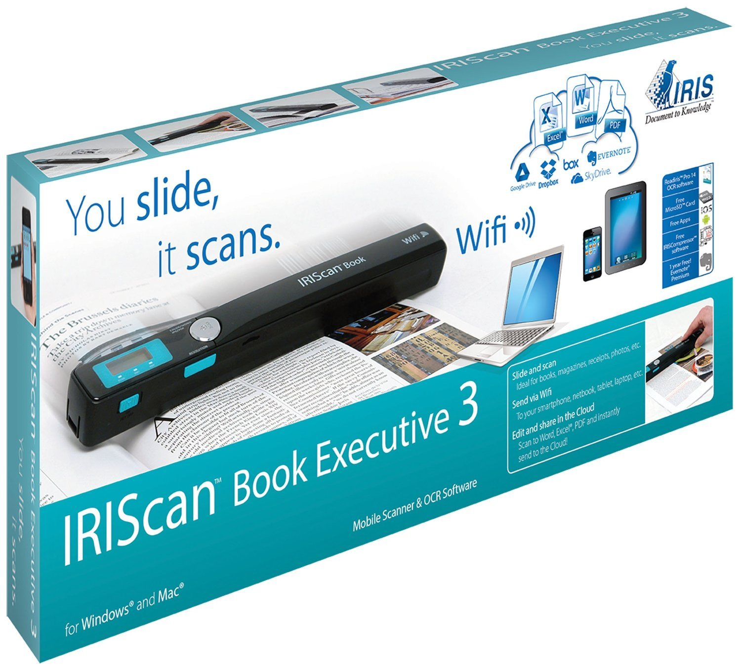IRIS Scan Book 3 Executive Wireless Portable 900 dpi Color Scanner with WiFi