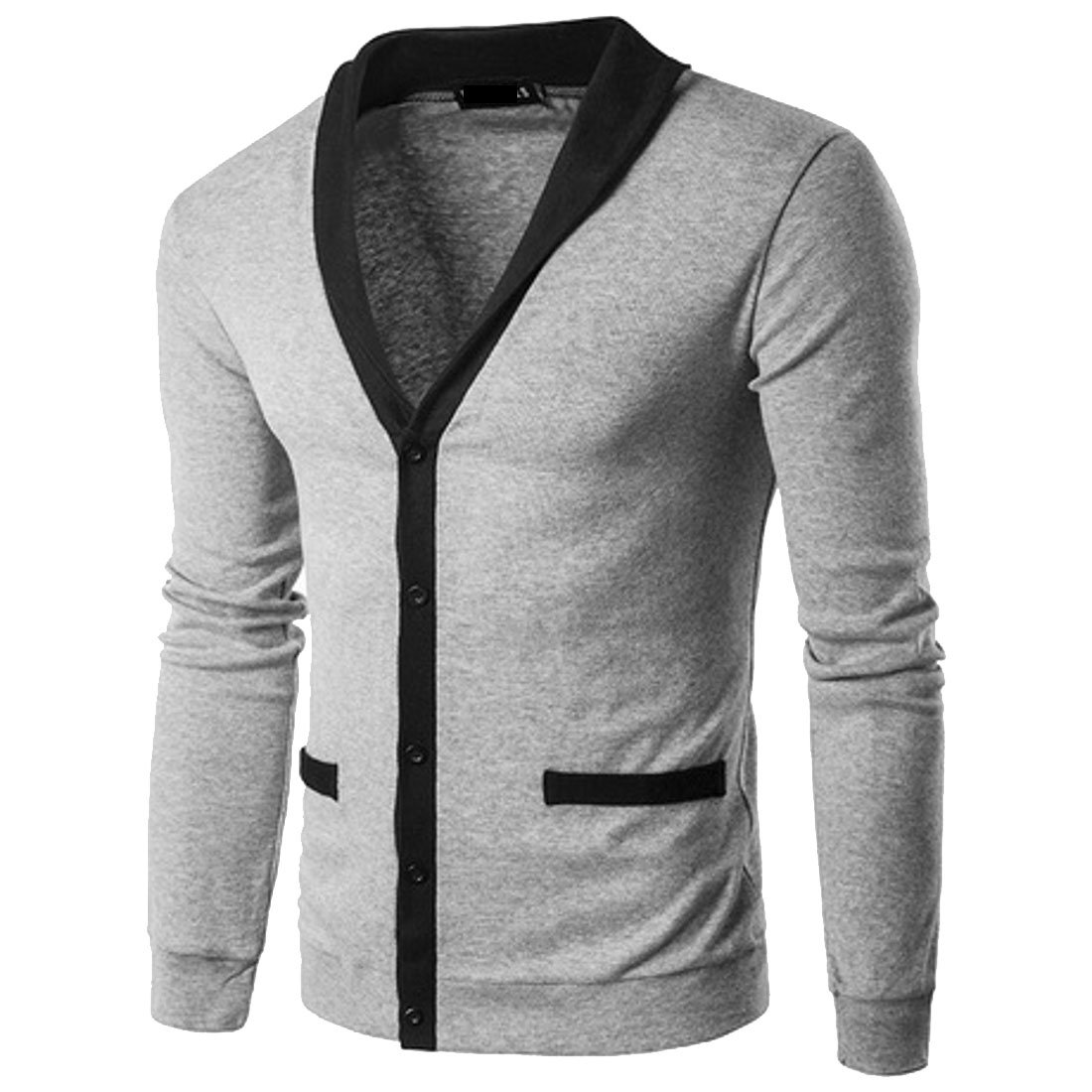 Domple Mens Multicolor Plus Size Autumn Block Color Shawl Collar Button Down Knitwear Cardigan