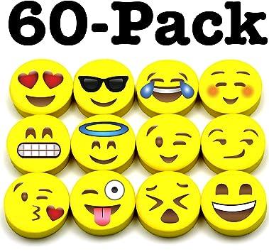 Party Favors Emoji Faces Teacher Supplies Office Aryellys 1 Emoticon Pencil Erasers 72 Pieces Bulk School