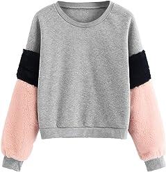 e55660e2a5e7 SheIn Women's Faux Fur Long Sleeve Casual Color Block Crop Pullover  Sweatshirt
