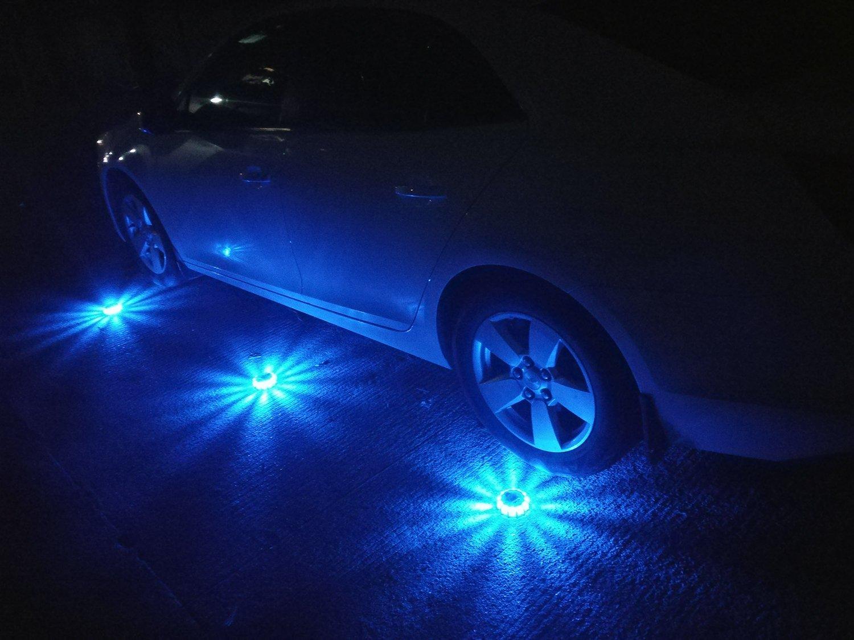 LED Flares Emergency Roadside SOS Lights Flashing Road Beacon 9 Flashing Modes with Magnetic Base for Car or Marine Rainproof Red + Orange + Blue