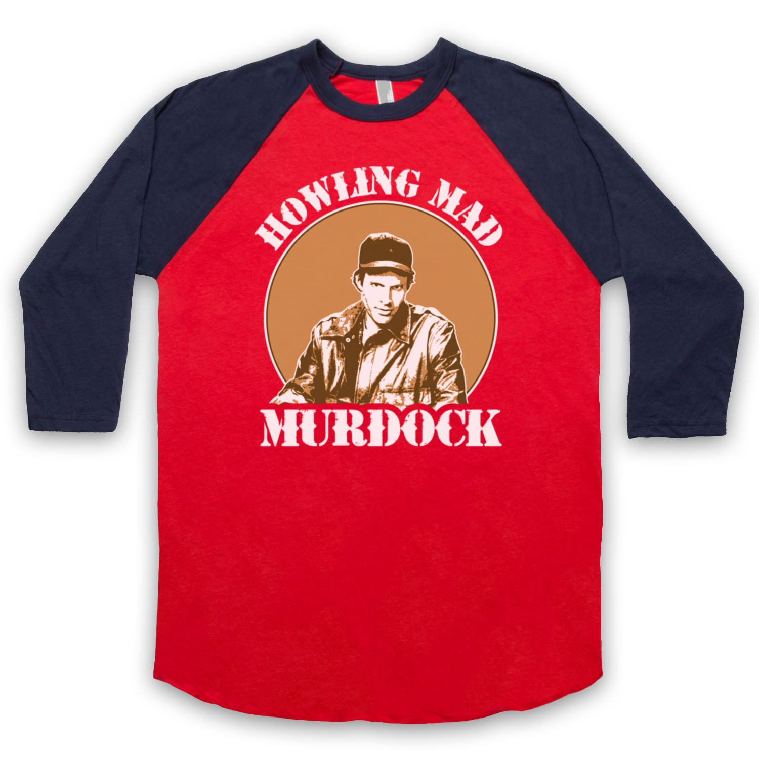 Inspired by A Team Howlin Mad Murdock Unofficial 3/4 Sleeve Retro Baseball Tee