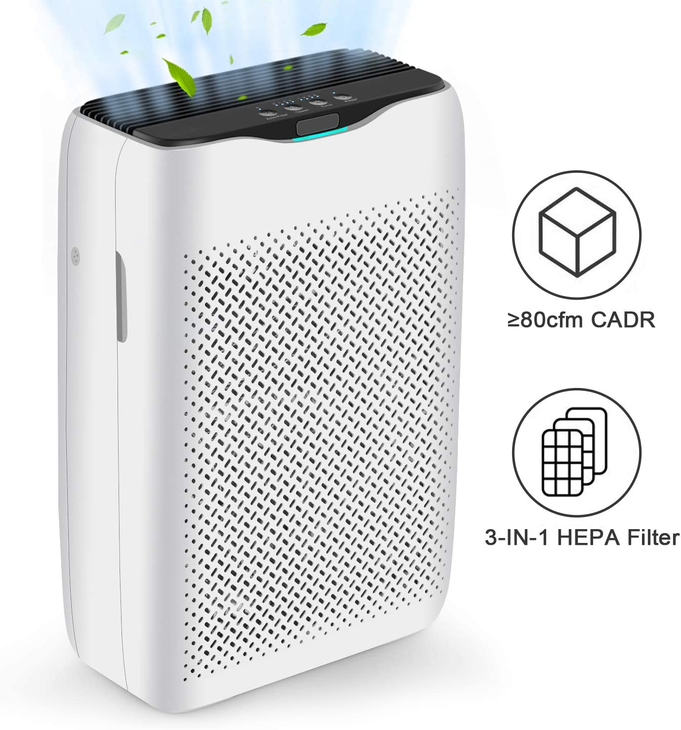 cacat Air Purifier with True HEPA Filter, Air Cleaner for Home Allergiers and Pets Hair, Smokers, Moldd, Pollen, Dust, Quiet Odor Eliminators for Bedroom