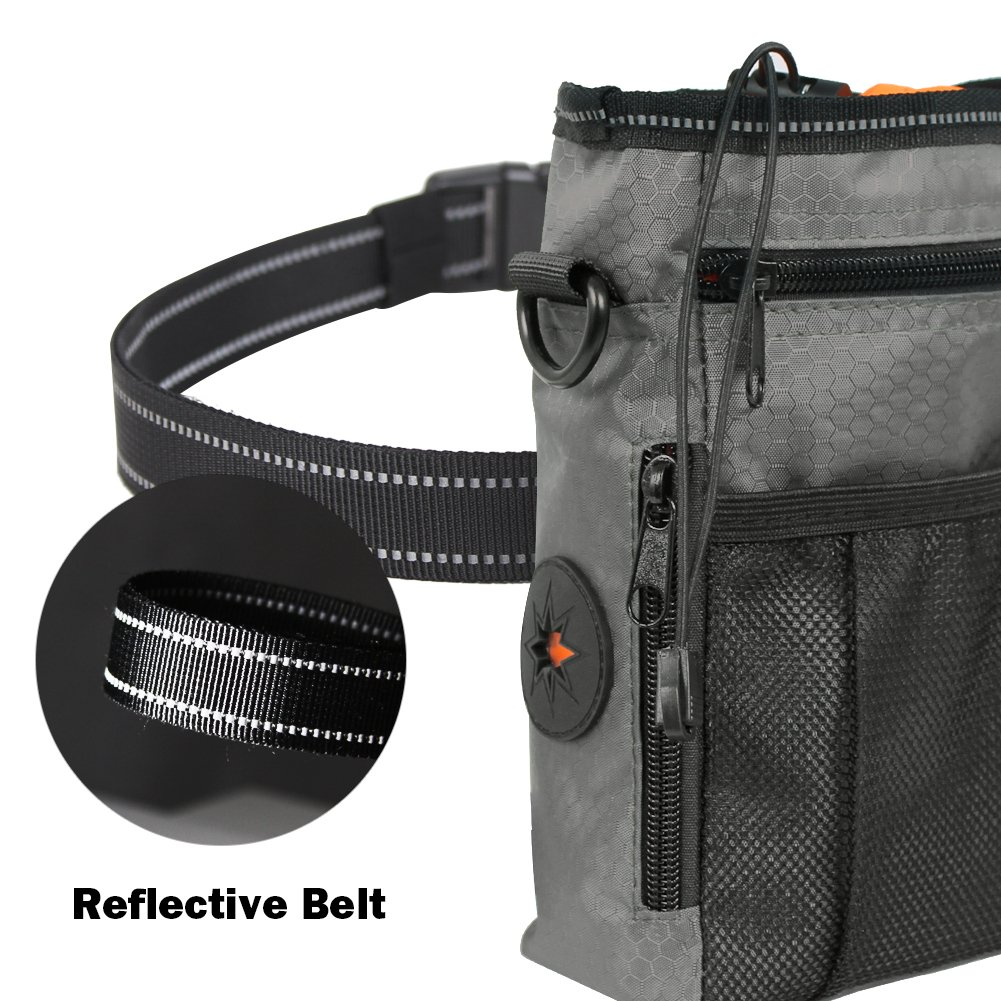 InnoGear Dog Training Treat Bag with 2 Collapsible Travel Pet Bowls Waterproof Walking Storage Pouch with Adjustable Reflective Shoulder Waist Belt Poop Bag Dispenser and Puppy Training Clicker
