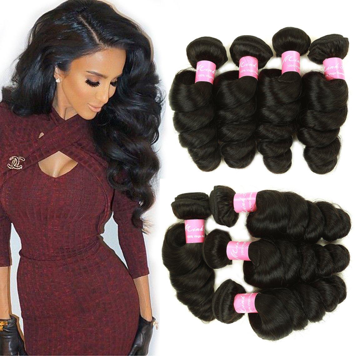 Amazon.com : Mink Hair 8A Loose Wave Bundles (20 22 24 24 ...