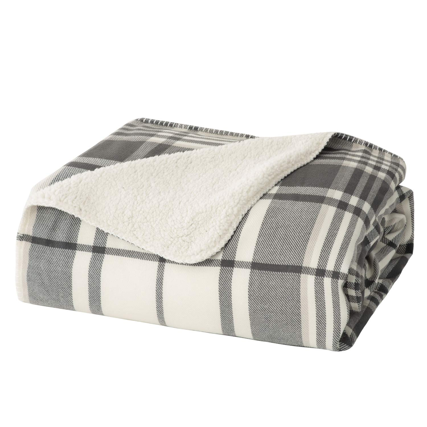 Marvelous Bedsure Lightweight Plaid Sherpa Throw Blanket For Summer Fleece Blanket For Couch Soft Warm Black White 50 X 60 Inches Creativecarmelina Interior Chair Design Creativecarmelinacom
