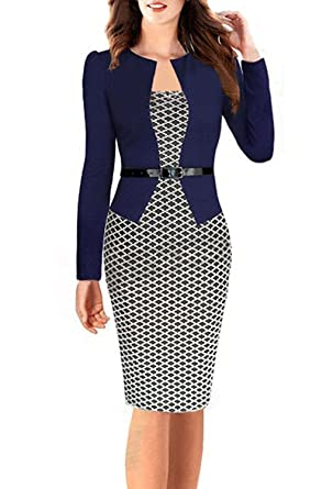 616d8e8a9336d0 Minetom Femmes Vintage Grille Tunique Moulante Bureau des Affaires Robes  pour Le Travail Pencil Bodycon Party Cocktail