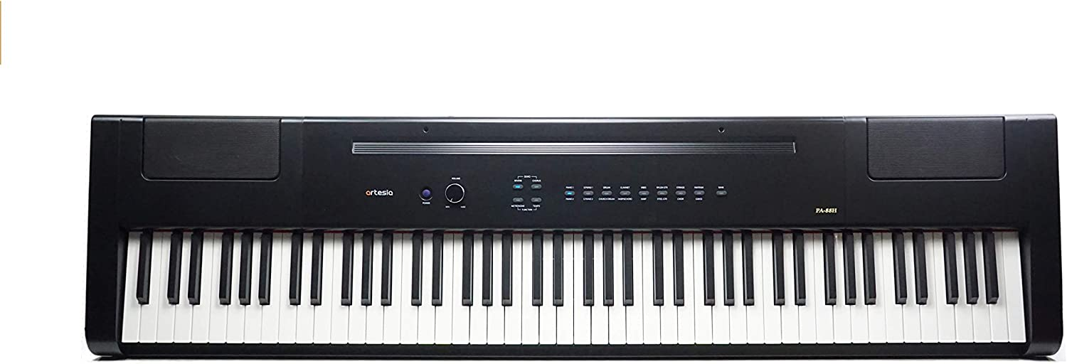 Artesia PA-88H 88-Key Weighted Hammer Action Digital Piano with Sustain Pedal and Power Supply, Black