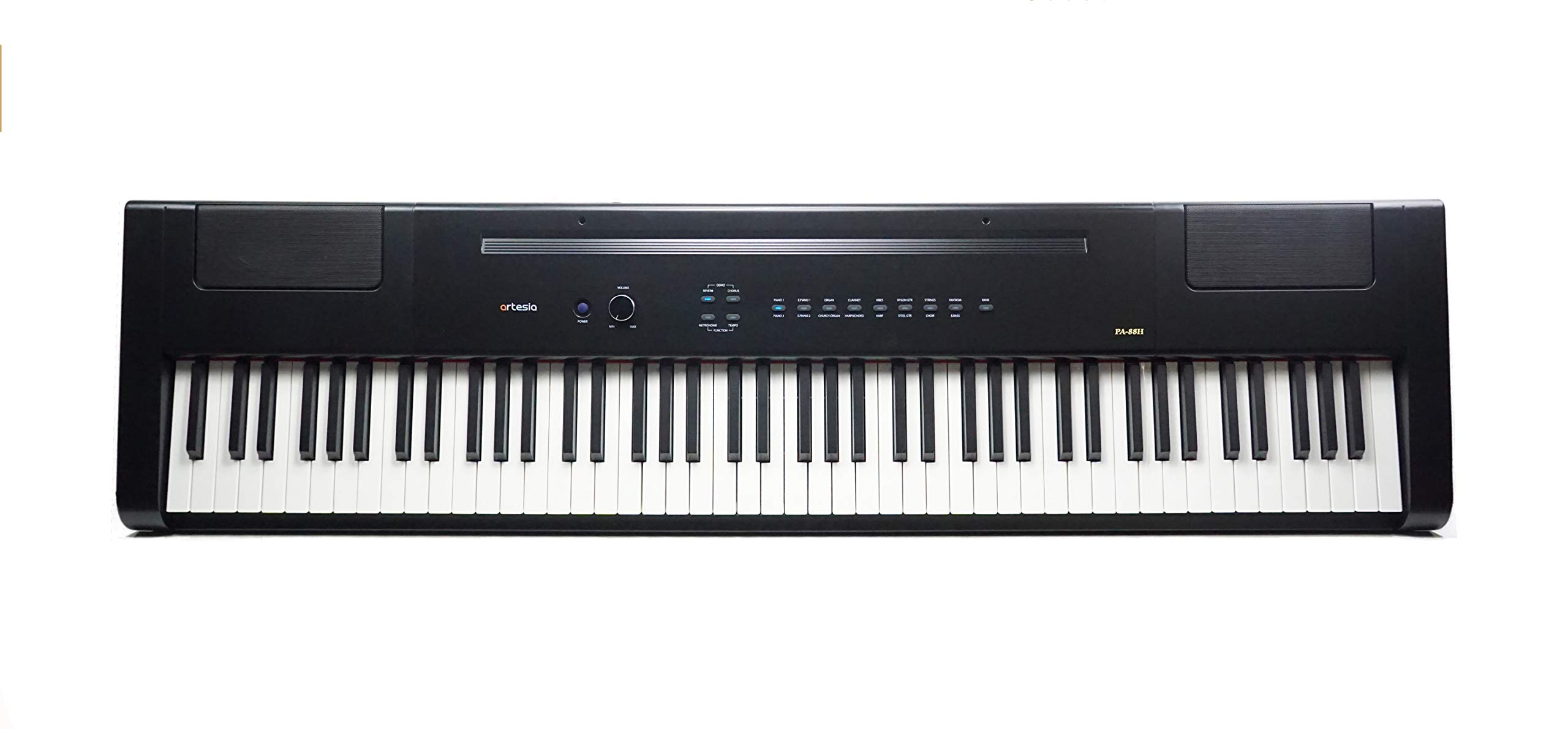 Artesia PA-88H 88-Key Weighted Hammer Action Digital Piano with Sustain Pedal and Power Supply, Black by Artesia