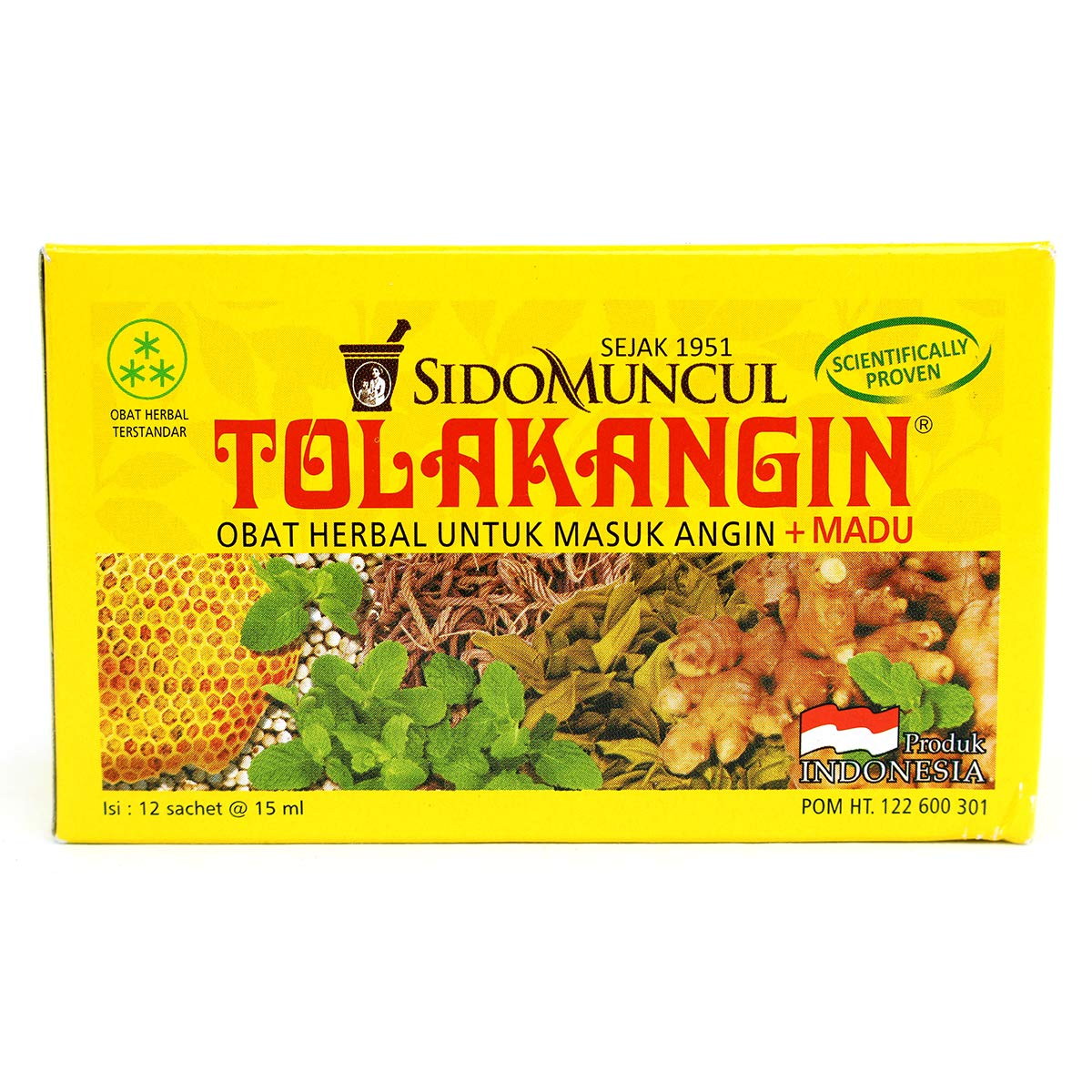 Sido Muncul Tolak Angin Herbal with Honey 12-ct, 180 Ml/ 6 fl oz (Pack of 1)