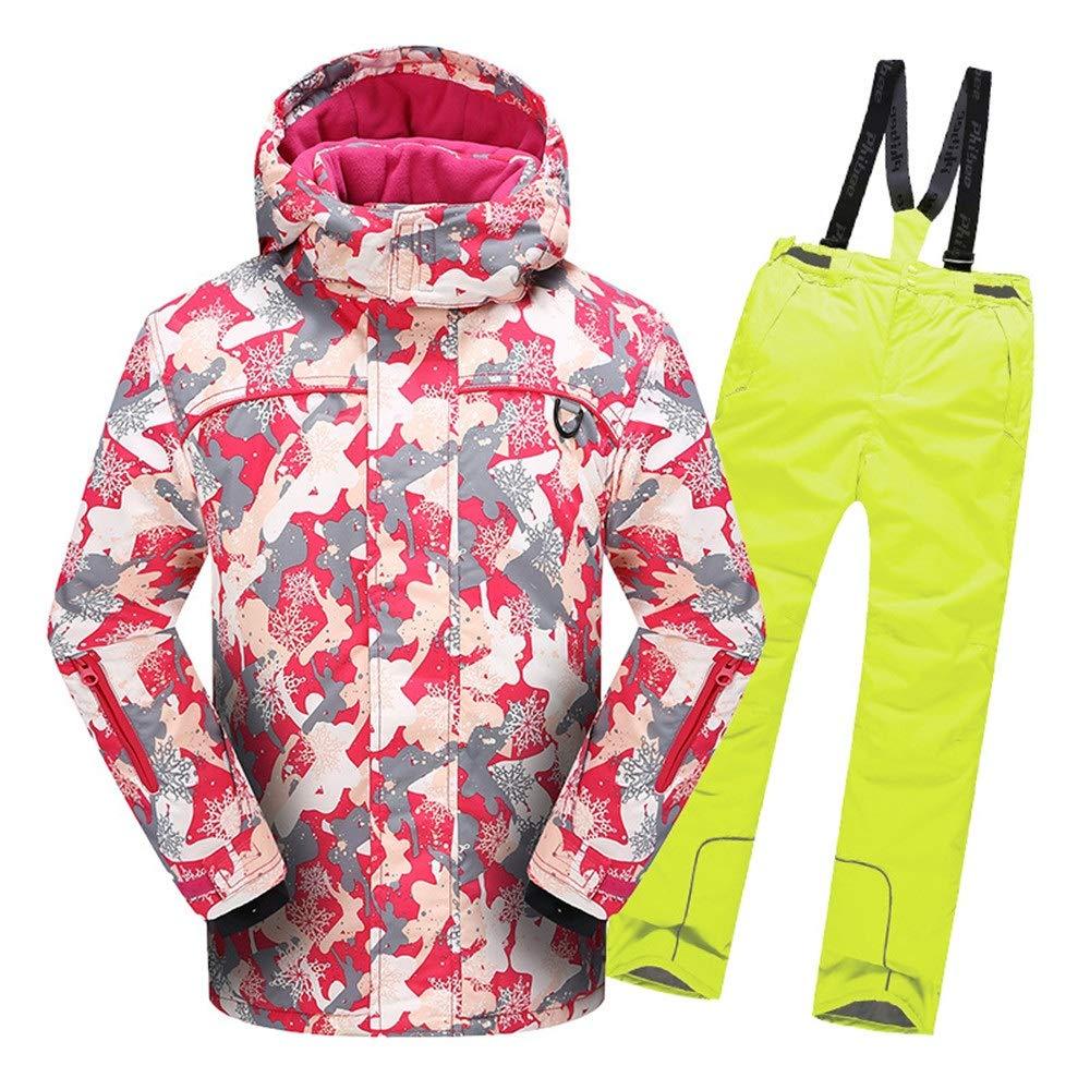 スキーウェア 男の子女の子暖かい防風防水スノーシューツフード付きスキージャケットパンツ2個セット 耐性ジャケット (色 : 黄, サイズ : 110)