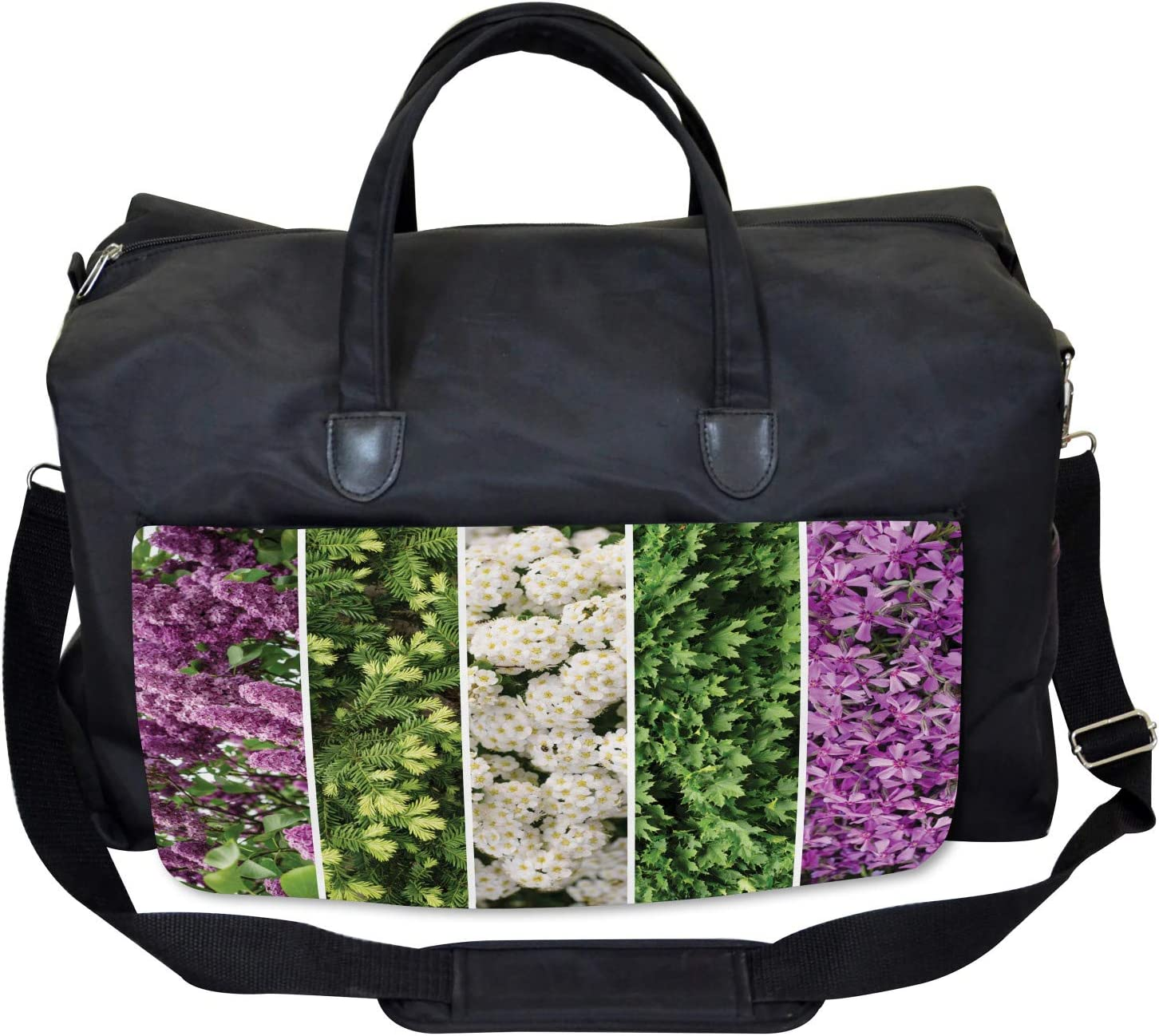 Ambesonne Flower Gym Bag Blooming Bouquet Romance Large Weekender Carry-on