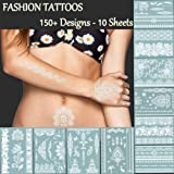 TAFLY Premium White Lace Tattoos - 150+ Designs Temporary Fake Jewelry Tattoos - Bracelets,