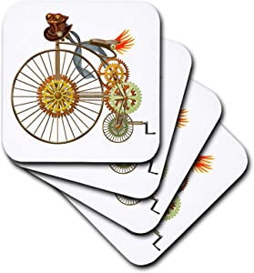 3dRose Penny Farthing Big Wheel Steampunk Bike digital art - Coasters (cst_335859_1)