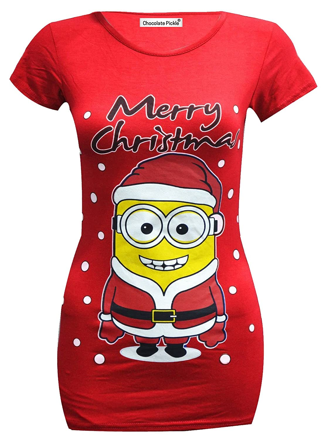 new womens christmas print stretch t shirts tops 4 16 at amazon womens clothing store - Minion Christmas Shirt