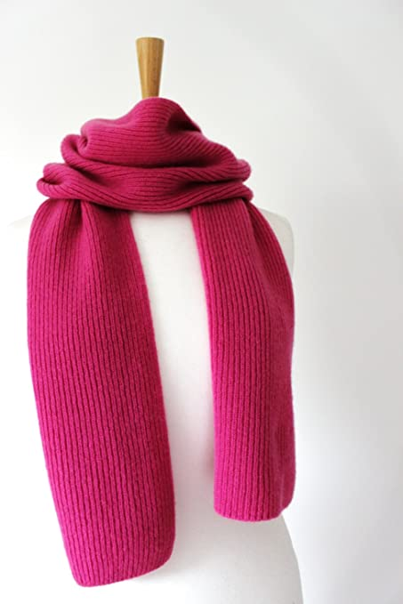 22875931666a55 MMfA Cashmere Ribbed Scarf - Various Colours available (Pink):  Amazon.co.uk: Kitchen & Home