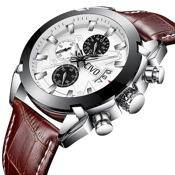 CIVO Relojes de Pulsera Hombres Cronógrafo Calendario Impermeable Moda Cool Reloj  para Hombres Adolescente Chicos Lujo 65bc4603b795