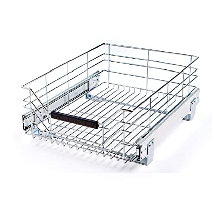 Seville Classics Ultradurable Commercial Grade Pull Out Sliding Steel Wire Cabinet Organizer Drawer 14 W X 17 75 D X 6 3 H