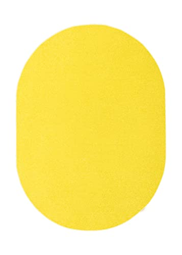 Home Queen Kids Favourite Solid Color Area Rugs Yellow – 5 x8 Oval with Non Slip Backing