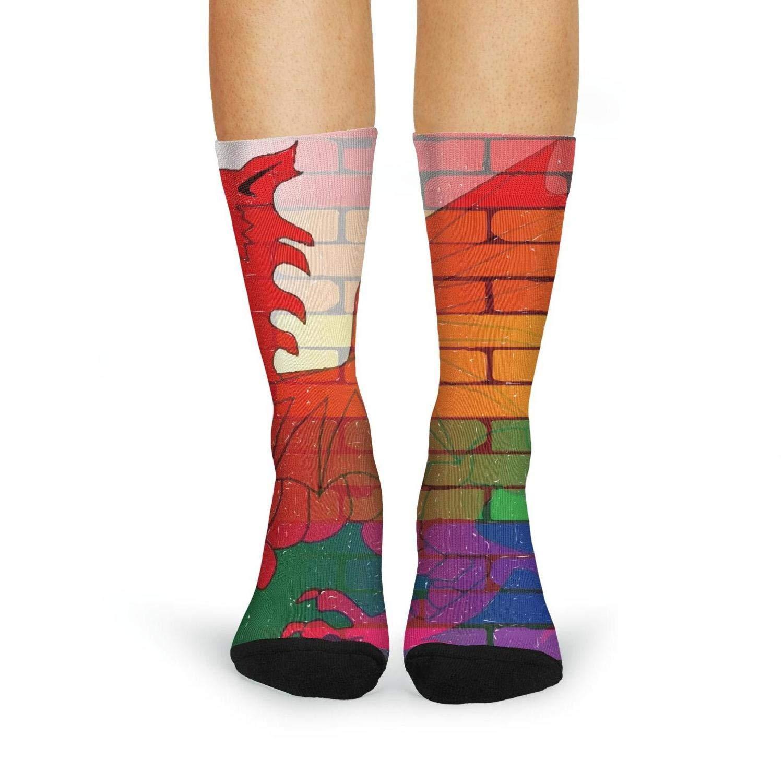 XIdan-die Womens Over-the-Calf Tube Socks Gay rainbow wall wales flag Moisture Wicking Casual Socks